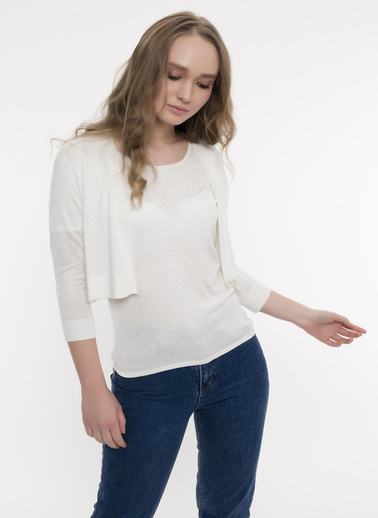 Silk and Cashmere Bolero Ekru